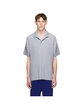 Grey Pleat Polo by Homme PlissÉ Issey Miyake