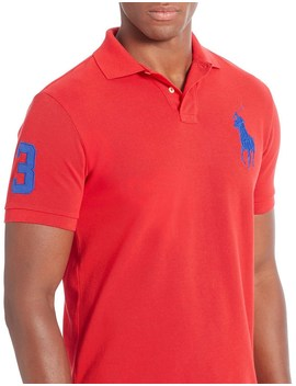 Mens Short Sleeve Custom Fit Mesh Big Pony Polo by Polo Ralph Lauren