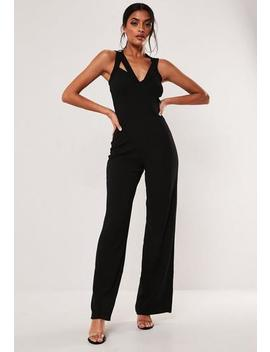 Black Halter Neck Wide Leg Jumpsuit by Missguided