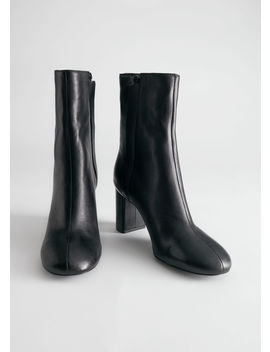 Smooth Leather Block Heel Boots by & Other Stories