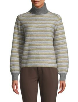Fair Isle Striped Turtleneck Sweater by Vince