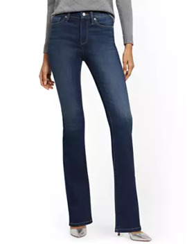 High Waisted Curvy Barely Bootcut Jeans   Bluebird Blue by New York & Company