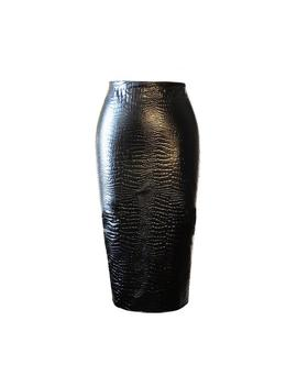 Black Croc Embossed Faux Leather High Waisted Pencil Skirt by Other