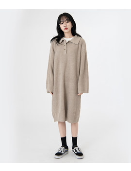 Neverm!Nd Collared Loose Fit Knit Dress by Mixxmix