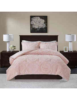 Madison Park Arya Medallion 3 Piece Full/Queen Ultra Plush Comforter Set In Blush by Bed Bath And Beyond