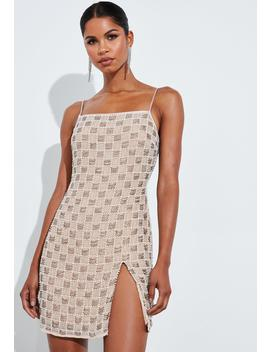 Peace + Love Silver Square Neck Embellished Mini Dress by Missguided