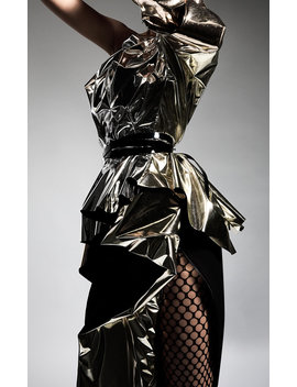 Alkali Ruffled Metallic Accented Satin Pencil Skirt by Maticevski