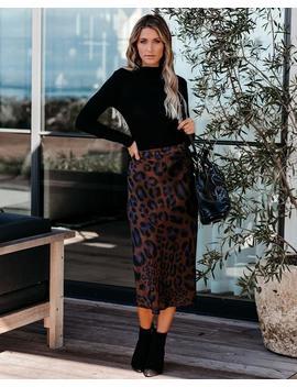 Marvelous Satin Leopard Midi Skirt by Vici