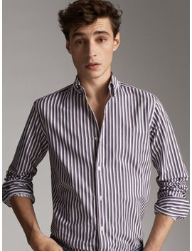 Slim Fit Two Tone Striped Shirt by Massimo Dutti