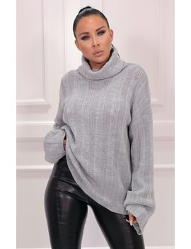 Grey Ribbed Knit Polo Neck Jumper   Vogue by Femme Luxe