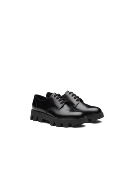 Rocksand Brushed Rois Leather Lace Up Shoes by Prada