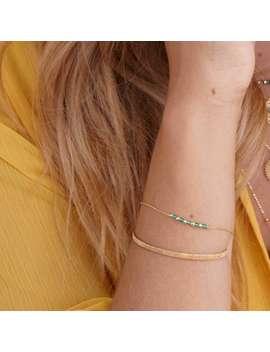 Disco Gem Bracelet Green Agate by Perle De Lune