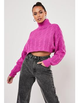 Pink Roll Neck Cable Knit Cropped Jumper by Missguided