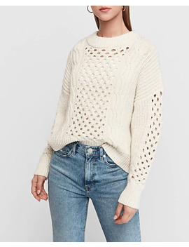 Cable Knit Sequin Tunic Sweater by Express