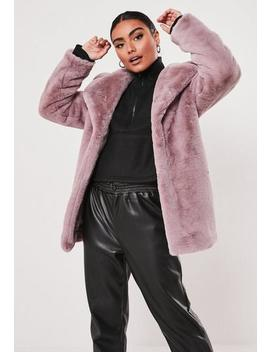 Lilac Super Soft Faux Fur Coat by Missguided