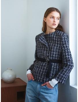 Belted Wool Tweed Jacket Black by Letqstudio
