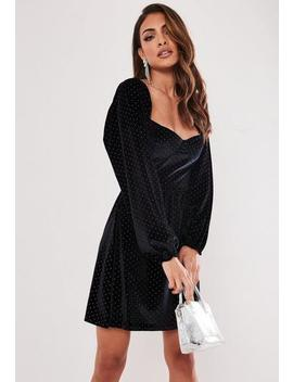 Black Sparkle Velvet Milkmaid Bust Cup Dress by Missguided