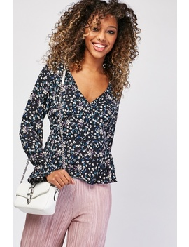 Ditsy Floral Print Peplum Blouse by Everything5 Pounds