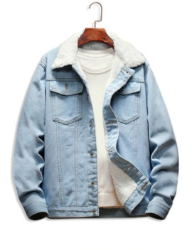 Faux Shearling Lined Button Up Denim Jacket   Light Blue S by Zaful