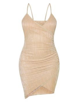Gold Strappy Plisse Glitter Ruched Side Bodycon Dress by Prettylittlething