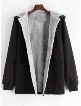 Button Pocket Faux Fur Hooded Jacket   Black S by Zaful