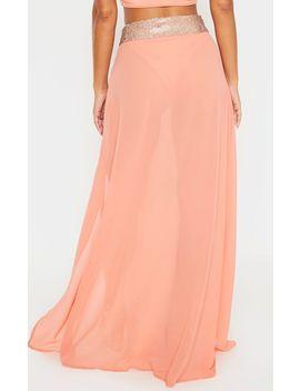 Peach Diamante Waist Split Beach Skirt by Prettylittlething