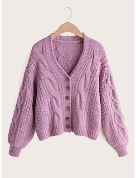 Cardigan Intrecciato Con Bottone by Sheinside