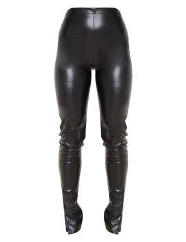 Black Faux Leather Split Hem Leggings by Prettylittlething