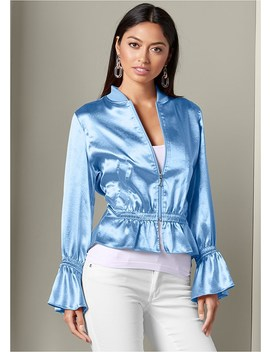 Peplum Detail Bomber Jacket by Venus