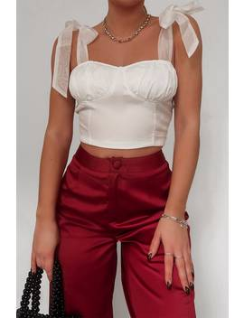 Fashion Influx White Tie Shoulder Corset Top by In The Style