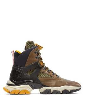 Tristan Leather And Mesh Hiking Trainer by Moncler
