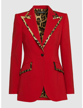 Leopard Trim Double Breasted Blazer by ‎Dolce & Gabbana‎