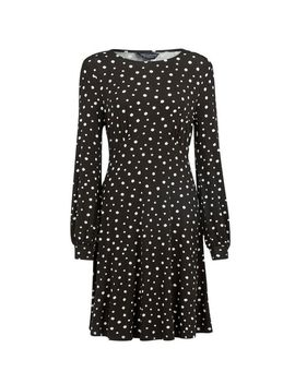 Monochrome Spot Print Empire Line Dress by Dorothy Perkins