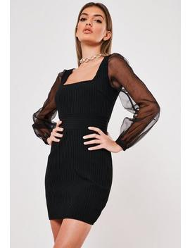 Petite Premium Black Bandage Organza Sleeve Mini Dress by Missguided