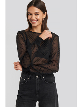 Sheer Dotted Round Neck Blouse Czarny by Na Kd Party