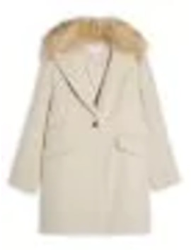 Monica Herringbone Faux Fur Trimmed Coat by Topshop
