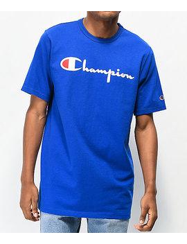 Champion Flock Script Blue & White T Shirt by Champion