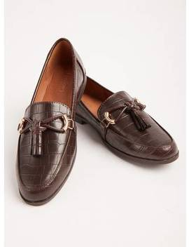 Sole Comfort Brown Croc Effect Loafers   3tuc136197640 by Argos