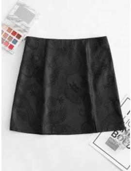 New Zaful Slit Jacquard A Line Skirt   Night M by Zaful