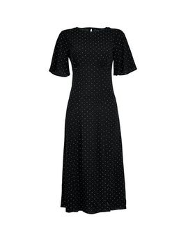 Black Spot Print Angel Sleeve Midi Dress by Dorothy Perkins