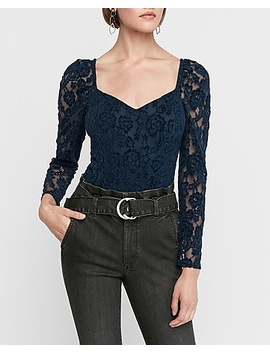 Lace Puff Sleeve Thong Bodysuit by Express