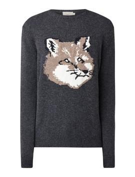 Fox Head Pullover Met Ingebreid Vossenhoofd by Maison Kitsuné
