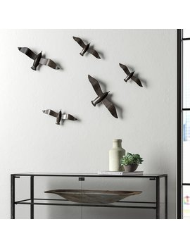 5 Piece Brushed Metal Flying Birds Wall Décor Set by Trent Austin Design