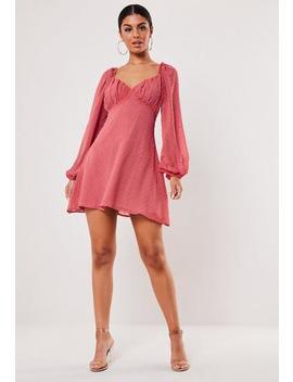 Blush Dobby Milkmaid Mini Dress by Missguided