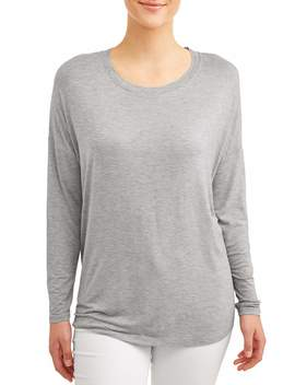 Time And Tru Women's Drop Shoulder Raw Edge T Shirt by Time And Tru
