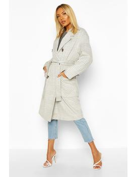 Tonal Check Wool Look Belted Coat by Boohoo