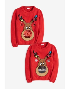 Red Sequin Nose Rudolph Christmas Jumper (3 16yrs) by Next