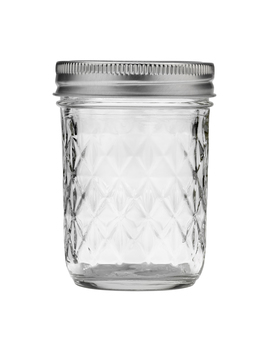 Ball Quilted Crystal Mason Jar W/ Lid & Band, Regular Mouth, 8 Ounces, 12 Count by Ball