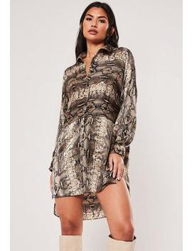 Brown Snake Print Oversized Satin Shirt Dress by Missguided