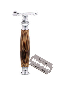 Wowe, Double Edge Safety Razor With Bamboo Handle, 1 Razor, 5 Blades by Wowe